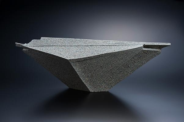 Large horizontal sculpture with extended triangular corner, 2010 Stoneware with colored clay chamotte 10 1/2 x 31 5/8 x 6 7/8 in. Inv# 7537 SOLD