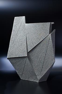 Large vertical flattened diamond-shaped sculpture, 2011 Stoneware with colored clay chamotte 30 3/8 x 23 3/8 x 7 7/8 in. Inv# 7541 SOLD