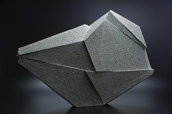 Large horizontal multi-faceted sculpture, 2011 Stoneware with colored clay chamotte 20 1/2 x 31 1/8 x 4 3/8 in. Inv# 7543 SOLD