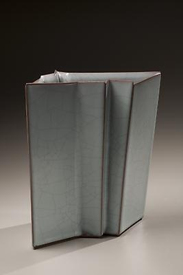 Takagaki Atsushi (b. 1946) Vessel with vertical folds, 2008 Glazed stoneware 11 x 7 1/2 x 13 inches Inv# 5902