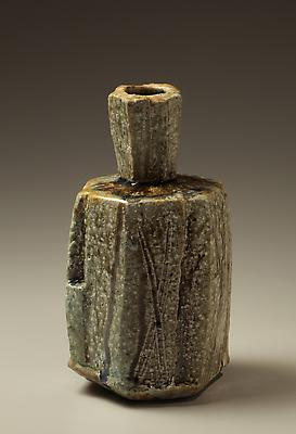 &lt;i&gt;Tamba&lt;/i&gt; ash-glazed hexagonal vase with tall neck, 2011
