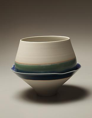 Porcelain sculpture of tall bowl stacked and melded onto conical form glazed in blue and teal, 2012 Glazed Porcelain 5 7/8 x 7 1/8 in. Inv# 7673 $ 1,850 Image