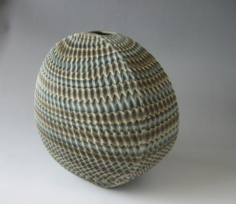 Flattened neriage (marbleized) vase   2012 Stoneware with natural ash glaze 11 7/8 x 12 7/8 x 9 1/8 in. Inv# 7723 SOLD Image