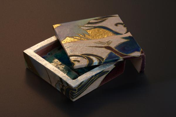 <i>Fuku-bako</i>: Lucky Box. Small square covered small box with rimpa-inspired design of cranes 2012 Stoneware with polychrome under and over glazes 1 1/2 H x 4 1/4 x 4 1/2 in.  Inv# 7768 SOLD Image