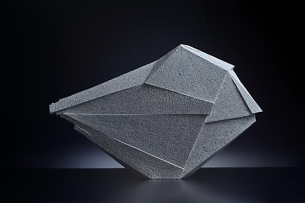 Large horizontal sculpture with extended triangular corner, 2012 Stoneware with colored clay chamotte 19 7/8 x 32 1/4 x 4 1/2 in. Inv# 7780 Sold