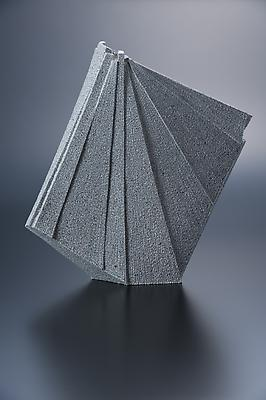 Vertical pleated-patterned sculpture, 2012 Stoneware with colored clay chamotte 21 1/4 x 20 1/2 x 3 3/4 in. Inv# 7786 SOLD