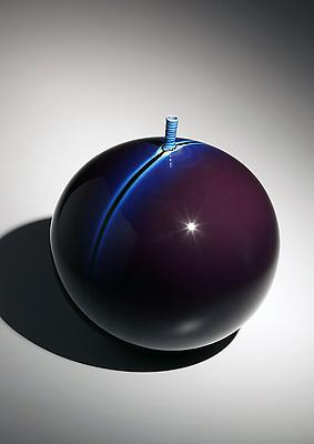 &lt;i&gt;Kutani&lt;/i&gt; blue glazed globular vase with narrow upraised mouth and single stripe design, ca.2000