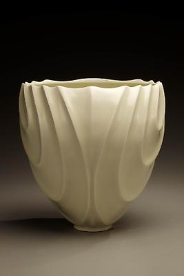 Ono Kotaro (b. 1953) Tall pale yellow celadon-glazed bowl with a carved, undulating wave pattern, 2009 Porcelain 10 1/4 x 8 11/16 x 10 inches Inv# 6128
