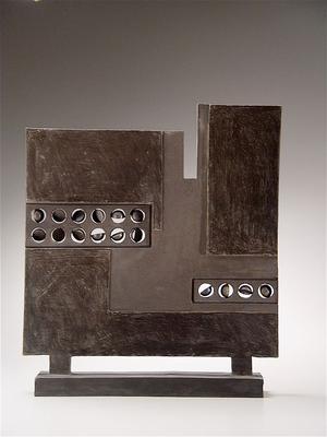 <i>Kokutô no sukuriin</i>; Black Pottery Screen 1983 Smoke-blackened stoneware 18 7/8 x 16 1/4 x 2 3/4 in. Inv# 4289 SOLD Image