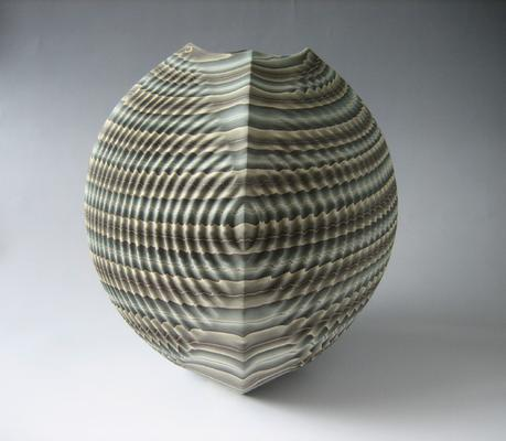 Four-sided sharp-edged, rounded neriage (marbleized) vessel with square base that stretches into a rounded triangular mouth with pleated surface of gray, white, black, and teal colored clays, 2013 Marbleized stoneware, 11 7/8 x 9 7/8 in. Inv# 8184 SOLD Image