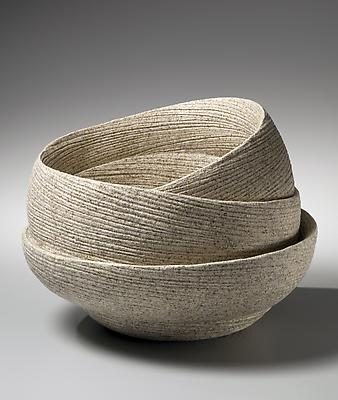 Round banded double-walled vessel with incised linear design on cascading folds, 2012 Stoneware with sand glaze 11 x 16 x 15 1/4 in. Inv# 8528 SOLD Image