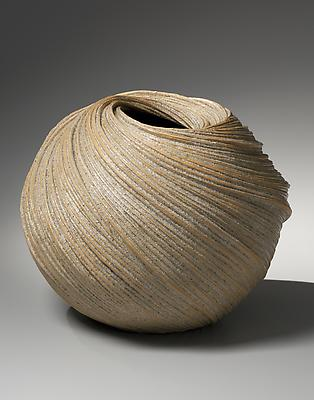 Large swirling vessel with diagonally incised linear patterning with orange edges, 2013 Stoneware with sand glaze 14 1/2 x 18 1/4 x 18 5/8 in. Inv# 8535 SOLD Image