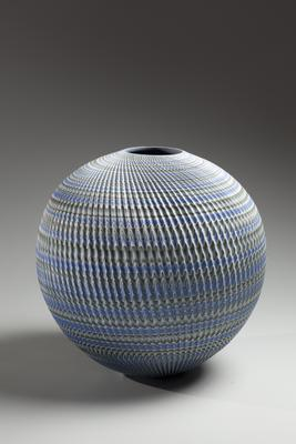 Round, blue, green, gray and white neriage (marbleized) vessel with pleated surface 2015 Glazed stoneware 13 3/8x 13 3/4 in. Inv# 9155 SOLD Image