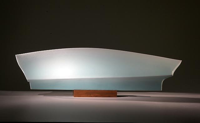 Fukami Sueharu (b. 1947) Mochi; Full Moon, 1990 Seihakuji-glazed porcelain with brown walnut wooden stand Sculpture:	12 x 49 1/8 x 6 inches; Base:	 2 x 12 3/8 x 3 7/8 inches Inv# 6740 POR