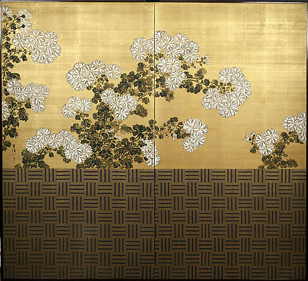KAMISAKA SEKKA White chrysanthemums behind a woven bamboo fence  ca. 1910 Two-fold screen; Ink, color, and gofun on silk with gold wash and silk brocade  67 1/2 x 74 inches Inv# 5154