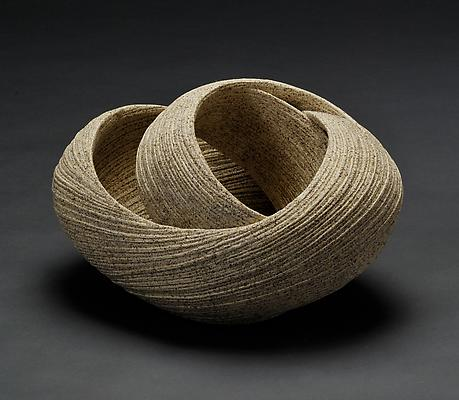 Sakiyama Takayuki (b. 1958) Elliptical twisting open sculpture with carved surface, 2011 Stoneware with sand glaze 8 3/4x x9 1/2 x 14 1/4 inches