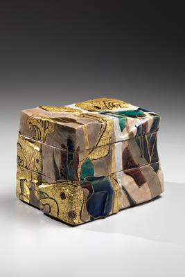 Three-tiered box with rinpa-style iris and wave patterning 2014 Stoneware with polychrome under and over glazes with gold and silver 5 1/2 x 6 3/4 x 5 in. Inv# 9010 SOLD Image