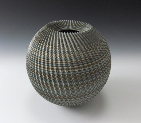 Globular, concave-mouthed <i>neriage</i> vessel with green, blue, gray and white pleated surface   2014 Glazed stoneware 10 3/8 x 10 3/4 in. Inv# 9154 SOLD Image