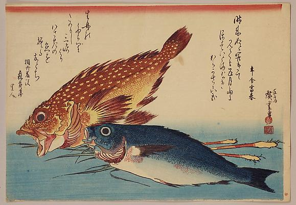 UTAGAWA HIROSHIGE (1797-1858) Rockfish and snapper with ginger (Kasago himedai) Untitled set of Selected Fish ca. 1832 Ôban yoko-e; with mica