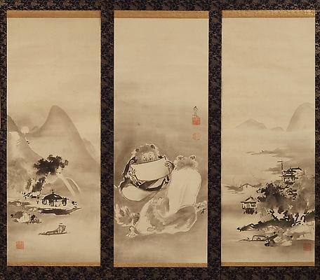 Kenzan &amp; Jittoku surrounded by landscape, ca. 1770-80