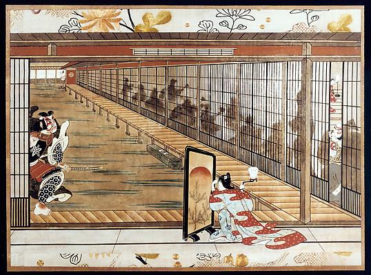 Soga Brothers Scene, ca. 1760s Ink and color on paper with gofun 13 1/2 x 21 3/4 inches $ 19,600 Image