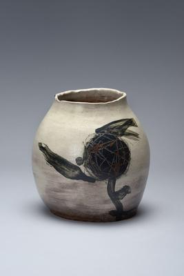 Asymmetrical sculpted vessel  1971 Glazed stoneware 8 3/4 x 8 1/4 x 7 7/8 in. Inv# 8190 SOLD Image