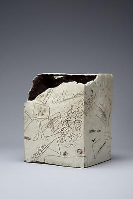 White square box-shaped vessel with diagonally torn mouth and etching abstract design, 1966 Glazed stoneware 11 7/8 x 9 3/4 x 9 5/8 in. SOLD Image