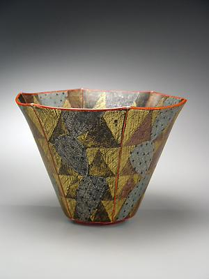 Maeda Masahiro (b. 1948) Large hexagonal faceted bowl with abstract cacti, 2005 Stoneware with polychrome under and overglazing 12 1/2 x 9 inches Inv# 4274