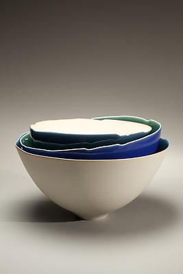 <strong>**Ten percent of the proceeds from this piece will be donated to Japan Society's Japan Earthquake Relief Fund**</strong>  Fukumoto Fuku (b. 1973) Round triple-tiered sculpture, 2009 Porcelain with blue glazes; 9 1/4 x 15 1/4 x 15 1/2 inches $ 5,500