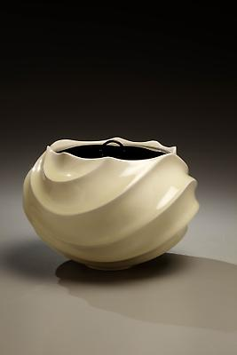 Ono Kotaro (b. 1953) Globular pale yellow celadon-glazed water jar with a carved body and lacquer lid, 2009 Porcelain with <i>koshi</i> glaze and black lacquer lid 5 5/8 x 7 1/2 x 7 1/2 inches Inv# 6087