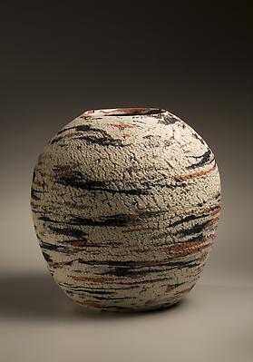 Matsui Kôsei (1927-2003) Vessel with clay inlays and sand treated surface  Stoneware with colored clay inlays 12 5/8 x 12 1/5 inches Inv# 5696