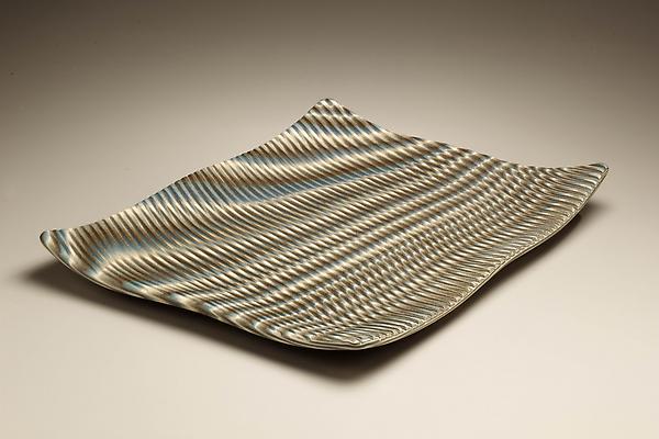 """Ogata Kamio (b. 1949) Rectangular carved neriage platter; """"Vertigo,"""" 2008 Stoneware 2 3/8 x 13 3/4 x 18 7/8 inches Inv# 6126"""