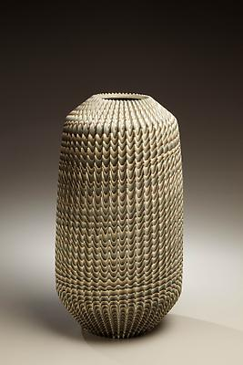 Ogata Kamio (b. 1949) Carved columnar neriage vase with blue, off-white and grey colored clay, 2007 Stoneware 15 x 8 1/4 x 8 1/4 inches Inv# 6125