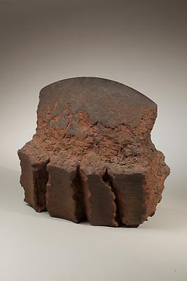 Akiyama Yo (b.1953) Wheel thrown rectangular sculpture with blade-like top; T952, 1995 Unglazed stoneware with iron filings 12 x 13 x 7 1/2 inches Inv# 6411