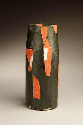 Wada Morihiro (1944 - 2008) Multifaceted columnar vase with red and green abstract pattern, 1998 Stoneware 11 3/4 x 5 inches Inv# 6094