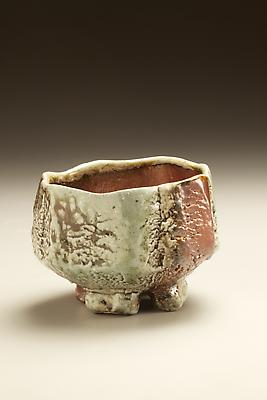 Split-footed <i>Tanba</i> teabowl with ash glaze and iron oxide underglaze 2010 Wood-fired stoneware with ash glaze 3 5/8 x 5 1/4 inches; Inv# 6893