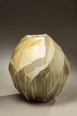 Thickly walled three-sided <i>Tanba</i> vessel with diagonal carved bands and covered in thick dripping ash glaze, 2011 Stoneware with natural ash glaze 16 1/8 x 15 3/4 inches; Inv# 6921 SOLD