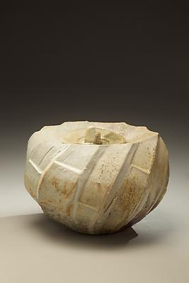 Oval covered <i>Tanba</i> water storage jar with ash glaze covering diagonal banding, 2011 Wood-fired stoneware with ash glaze 7 5/8 x 9 x 10 3/4 inches; Inv# 6924 $ 5,750