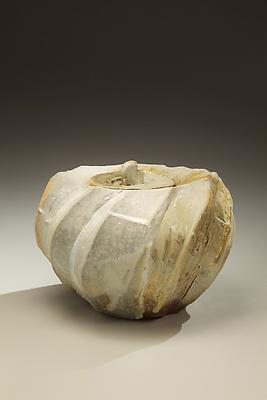 Round covered <i>Tanba</i> water storage jar with ash glaze covering diagonal banding; 2011 Wood-fired stoneware with ash glaze 7 5/8 x 10 3/8 x 8 7/8 inches; Inv# 6925