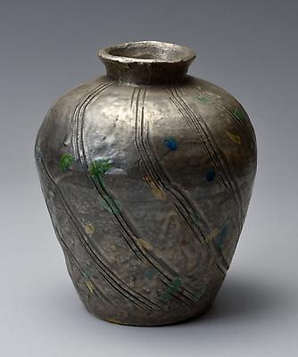 Kitaôji Rosanjin (1883-1959) Silver vase with diagonally carved lines and multicolored glaze dots Glazed stoneware 8 x 6 3/4 in. With original signed box Inv# 7955