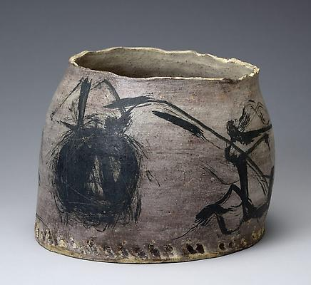 Yagi Kazuo (1918-1979) Asymmetrical rounded vessel with brushed black designs <i>Haru no neko</i> (Spring cat) Glazed stoneware; With original signed box   7 3/8 x 9 3/4 x 9 1/2 in.   Inv# 7938