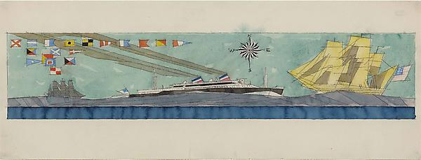(Double-funneled Liner, two Sailing Boats, Wind Rose and Nautical Flags), 1938 Watercolor and pen and ink on paper  9 3/8 x 24 3/4 in. (23.9 x 63 cm)