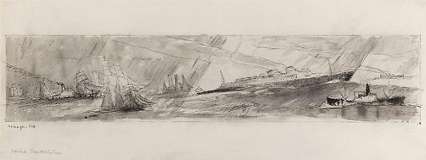 Marine Transportation, 1938 Watercolor and pen and ink on paper  9 3/8 x 24 3/4 in. (23.8 x 62.9 cm) Signed and dated lower left: Feininger, 1938  Titled bottom left: Marine Transportation