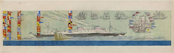 (Double-funneled Liner, Sailing-ships and Nautical Flags), 1938 Watercolor and pen and ink on paper  7 7/16 x 24 13/16 in. (19 x 63 cm) Signed and dated lower left: Feininger 1938