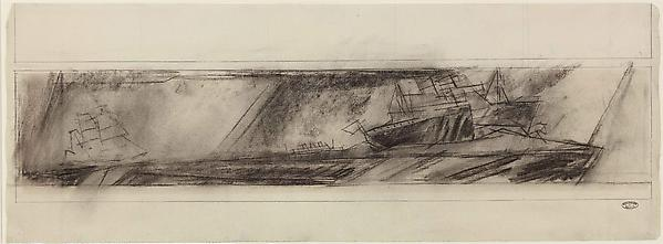 (Steamers and Sailing-ship in Turbulent Sea), 1938 Charcoal on paper 9 ½ x 24 7/8 in. (24.2 x 63.2 cm)