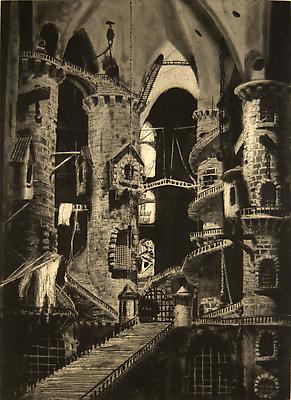 <i>Piranesi (state 2)</i>, 2008  photogravure, aquatint and hardground etching,  drypoint and scraping on Somerset soft white, tea stained 22 x 27.5 in. (55.9 x 69.9 cm) 4.300 € including tax