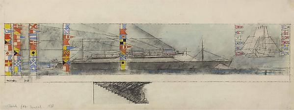 Sketch for Mural, 1938, 1938 Watercolor and pen and ink on paper  9 7/8 x 24 13/16 in. (23.9 x 63 cm) Signed and dated lower left: Feininger 1938 Titled bottom left: Sketch for Mural, 1938