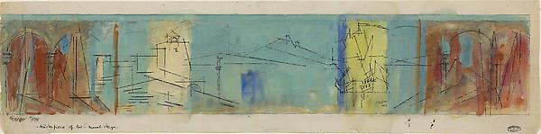 "Masterpieces of Art, Mural Design, 1939 Watercolor and pen and ink on paper  6 3/16 x 25 5/16 in. (15.7 x 64.3 cm) Signed, dated and titled lower left Feininger 1939 ""Masterpieces of Art"" – Mural Design,"