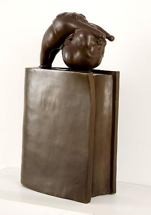 Gymnastics on the red book 2007 Bronze 10 x 23 x 6 inches (25.4 x 58.4 x 15.2 cm)