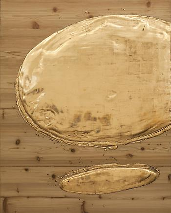 Nancy Lorenz Gold Pour 2008 Gesso, bole, red gold, on cedar and aluminum panel 50 x 40 inches (127 x 101.6 cm)